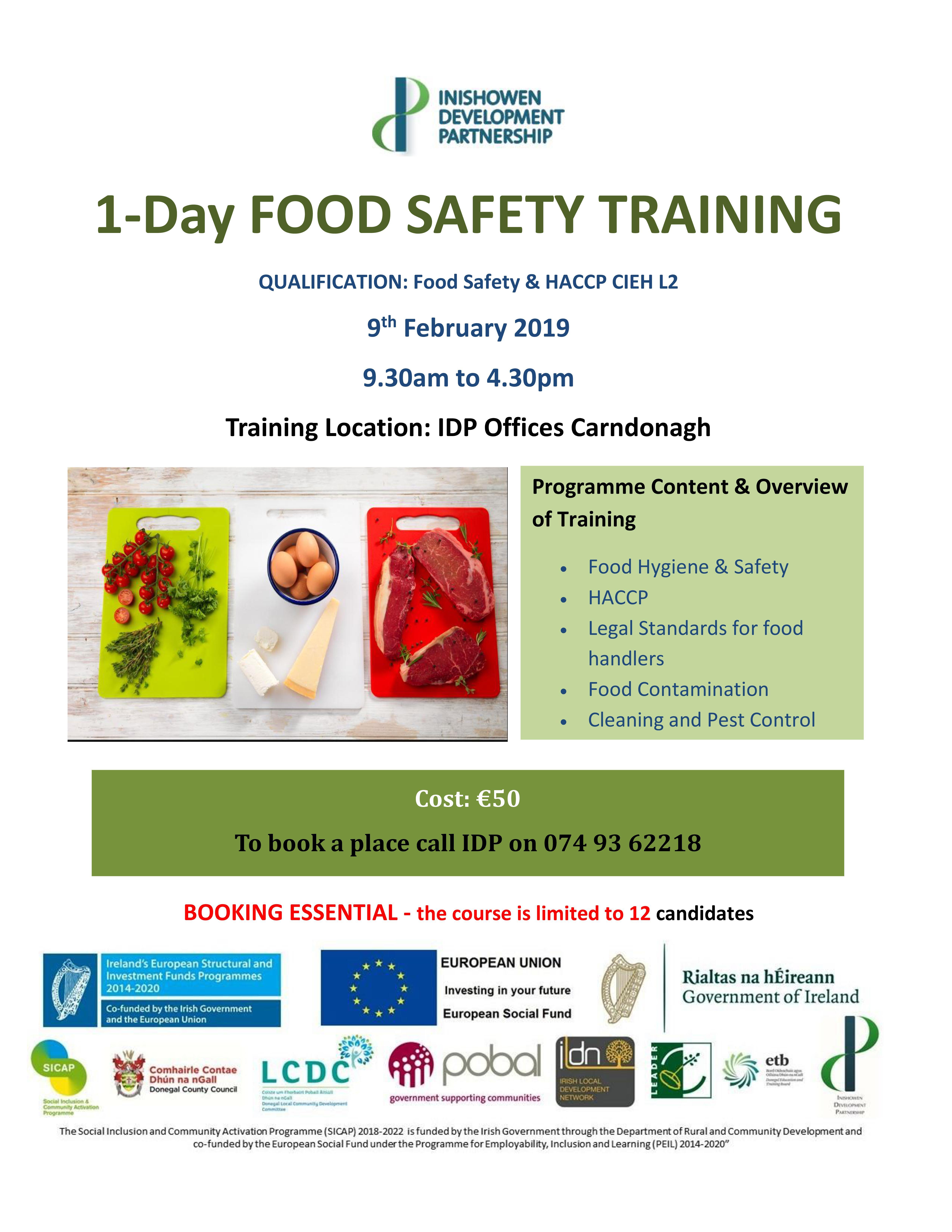 1-Day FOOD SAFETY TRAINING – Inishowen development partnership