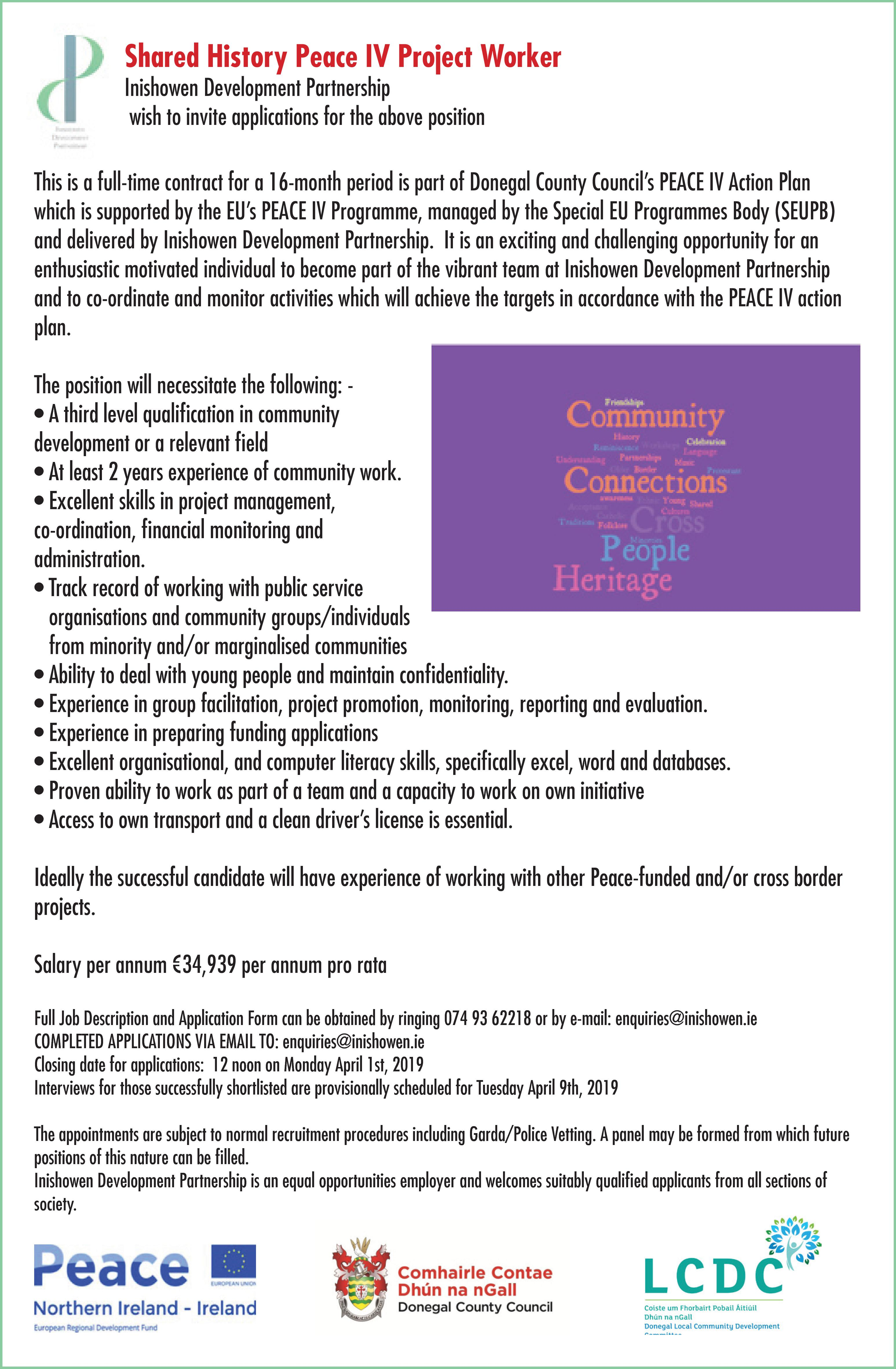 Shared History Peace IV Project Worker - Inishowen development